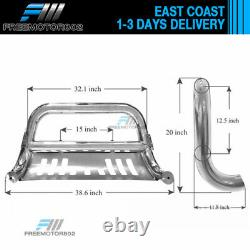 Fits 09-17 Dodge Ram 1500 Stainless Bull Bar Brush Guard With Skid Plate Chrome