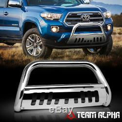 Fits 2016-2017 Toyota Tacoma Bull Bar Stainless Steel 3Grille Push Bumper Guard