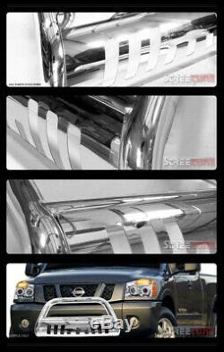 For 04-19 20 Ford F150 Stainless Chrome Bull Bar Brush Push Bumper Grille Guard