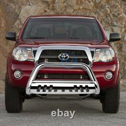 For 05-15 Toyota Tacoma 3 Chrome S/S Bull Bar Push Bumper Grille Guard withSkid