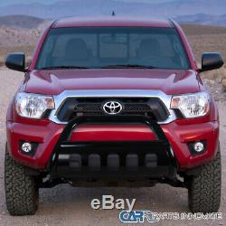 For 05-15 Toyota Tacoma Black Bull Bar Grille Bumper Push Guard S/S+Skid Plate