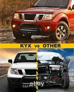 For 05-19 Nissan Frontier/Pathfinder Push Bumper Guard withLights Skid Plate KYX