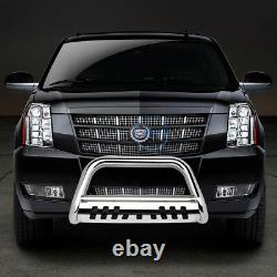 For 07-14 Avalanche 3 Chrome S/S Bull Bar Push Front Bumper Grille Guard withSkid