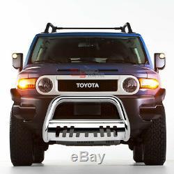 For 07-14 Toyota Fj Cruiser Stainless Bumper Bull Bar Push Grille Skid Plate