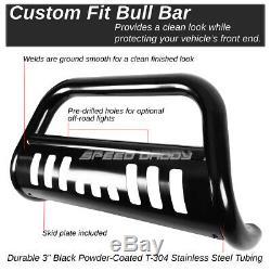 For 09-15 Honda Pilot Black Powder-coated 3 Bull Bar Push Bumper Grille Guard