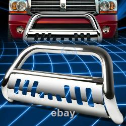For 09-18 Ram 1500 3 Chrome S/S Bull Bar Push Front Bumper Grille Guard withSkid