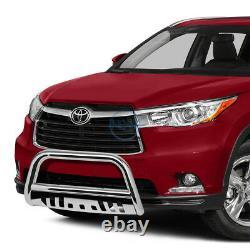 For 14-16 Toyota Highlander 3 Chrome SS Bull Bar Push Front Bumper Grille Guard