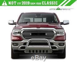 For 2019 Dodge Ram 1500 3 Push Bull Bar Brush Grille Guard Front Bumper Chrome