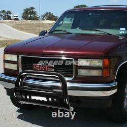 For 88-00 Gmc Sierra C/k C10 Truck Black Bull Bar Push Bumper Grille Guard+skid