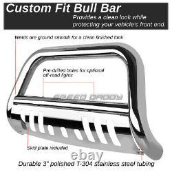 For 88-00 Gmc Sierra C/k C10 Truck Chrome Bull Bar Push Bumper Grille Guard+skid