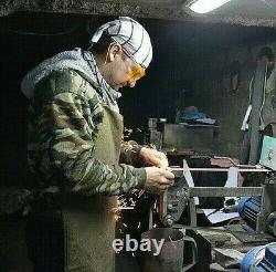 G. Dedyukhin Hunting Knife THE REBEL D2 Damascus Handmade Bark River Style