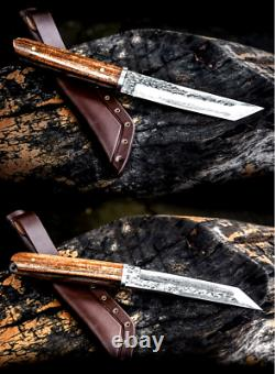 Handmade Tanto Knife Fixed Blade Hammered Forged Steel Hunting Wood Collectible