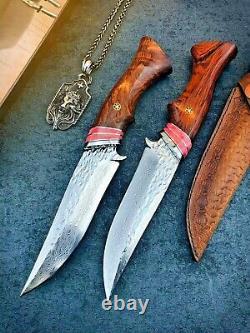 Hunting Knife Damascus Steel Straightback Fixed Blade Wood Handle Leather Sheath