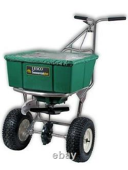 Lesco 101186 High Wheel Push Spreader with Manual Deflector and Cover