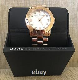 Marc Jacobs Women's Watch Amy White Rose Gold Tone Ladies Quartz Steel MBM3077