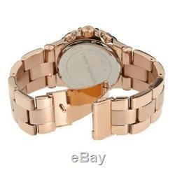 Michael Kors Dylan Oversized Rose Gold Steel Blue Chrono Women's Watch MK5410