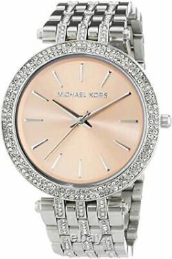 Michael Kors Ladies Darci Rose Gold Dial Silver S-Steel Bracelet Watch MK3218