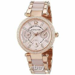 Michael Kors Mini Parker Rose Gold Blush Acetate Glitz Ladies Watch MK6110