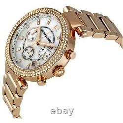 Michael Kors Parker Rose Gold Tone Chronograph Glitz Ladies Watch MK5491
