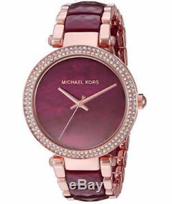 Michael Kors Parker Rose Gold-Tone Plum Acetate Crystal Women's Watch MK6412