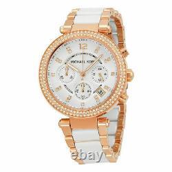 Michael Kors Parker Rose Gold-Tone White Acetate Chronograph Ladies Watch MK5774