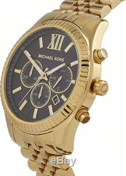 Michael Kors Stainless Steel Gold-Tone Black Chronograph Men's Watch MK8286