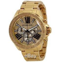 Michael Kors Wren Crystal Gold Glitz Roman Letter Chrono Lady's Watch MK6095