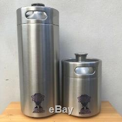 Mini Keg 2L Beer Growler Stainless Steel corny tap ball lock regulator co2 push