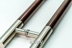 Modern Bar Style Handles, Long Round Steel Push Pull Entrance Door, Mahogany