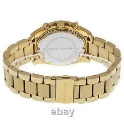 NEW Authentic Michael Kors Runway Glitz Gold Plated Ladies Watch MK 5166
