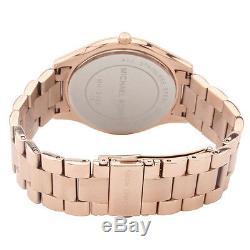 NEW Authentic Michael Kors Slim Runway Rose Gold Tone Women's Watch MK3197