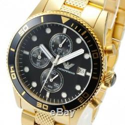 NEW EMPORIO ARMANI AR5857 Mens Watch Gold Black Chronograph Stainless AR5857