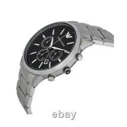 NEW Emporio Armani Sportivo Silver Black Chronograph Dial AR2460 Men's Watch