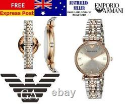 New Emporio Armani Classic Ar1840 Silver/rose Gold Two-tone Ladies Womens Watch