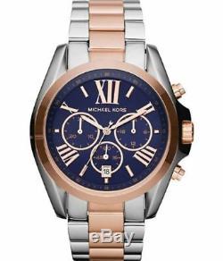 New Michael Kors Bradshaw Silver Rose Gold Navy Chronograph MK5606 Women's Watch
