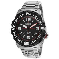 New Seiko Superior Automatic Sports Divers Men's Watch Black Silver Tone SRP445