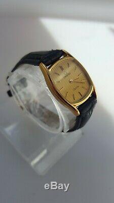 OMEGA DE VILLE 1387 QUARTZ 18k GOLD PLATED LADIES WATCH WITH PUSH CROWN. VGC