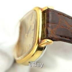 OMEGA DE VILLE Quartz Women's Watch Push Crown Gold Crocodile Leather Brown 1350