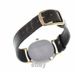 OMEGA de vill gold Dial GP/Leather Push crown Quartz Men's Watch Q#99603