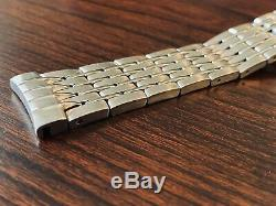Omega 20mm Push Button Watch Bracelet Curved Lugs Solid Stainless Steel Swiss