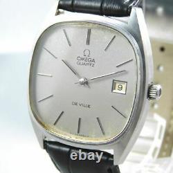 Omega De Ville Push Quartz Men's Date Silver Vintage Watch Swiss