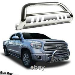 Push Bumper Grill Guard for 07-19 TOYOTA TUNDRA/SEQUOI Chrome Bull Bar Brush