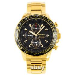 SEIKO Pilot Chronograph SSC008 SSC008P2 Solar Gold Flightmaster Mens Watch
