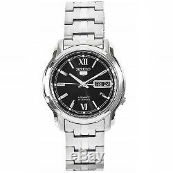 Seiko 5 SNKK81 K1 Silver with Black Dial Stainless Steel Automatic Men's Watch