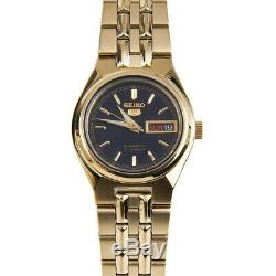 Seiko 5 SYMA06 K1 Gold With Black Dial Small Women's Automatic Analog Watch