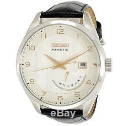 Seiko Kinetic SRN049 P1 White Dial Black Leather Strap Men's Analog Dress Watch