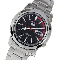 Seiko SNKK31K1 Automatic Black Red Dial Stainless Steel Men's Watch