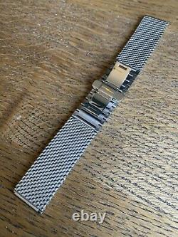 Shinola Stainless Steel 20mm Mesh Bracelet with Double Push Button Deployant
