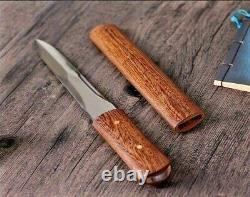 Spear Point Knife Fixed Blade Hunting Wild Tactical Combat Wood Handle Handmade