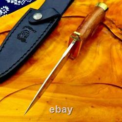 Spear Point Knife Fixed Blade Hunting Wild Tactical Combat Wood Handle Scabbard